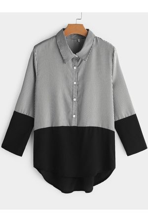 YOINS Button Design Stripe Classic Collar Long Sleeves Tee