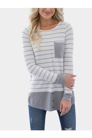 YOINS Pocket Design Stripe Round Neck Long Sleeves Stitching Top