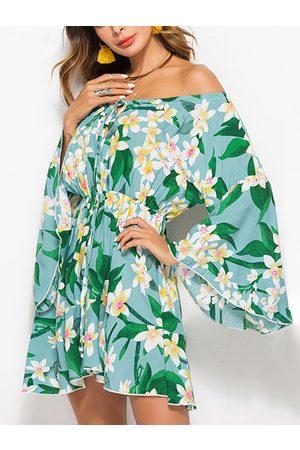 YOINS Light Cut Out Floral Print Off The Shoulder Drawstring Waist Sexy Dress