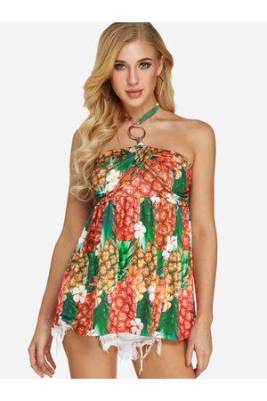 YOINS Backless Design Floral Print Halter Sleeveless Camis