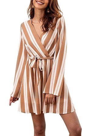 YOINS Apricot Stripe Self-tie Design V-neck Long Sleeves Stretch Waistband Dress