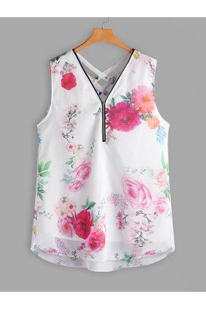 YOINS Plus Size Criss-cross Floral Zip Front Tank