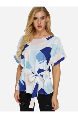 YOINS Self-tie Design Random Geometrical Pattern Round Neck Short Sleeves Blouse