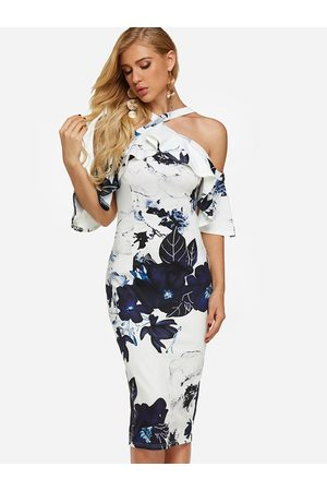 YOINS Random Floral Print Halter Flounced Sleeves Dress