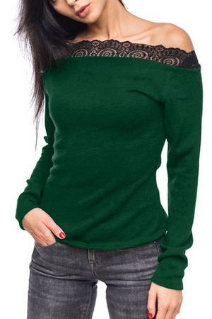 YOINS Lace Trim Off The Shoulder Long Sleeves Casual Top