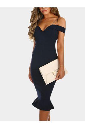 YOINS Off The Shoulder V Neck Sleeveless Party Dress