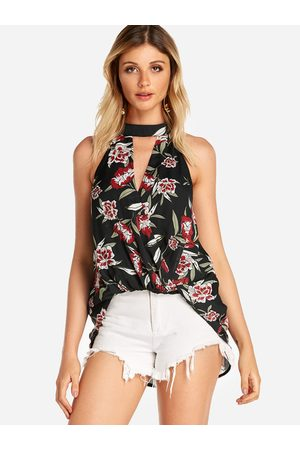 YOINS Crossed Front Random Floral Print V-neck Cami