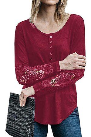YOINS Lace Insert Button Design Curve Hem Crew Neck Long Sleeves T-shirts