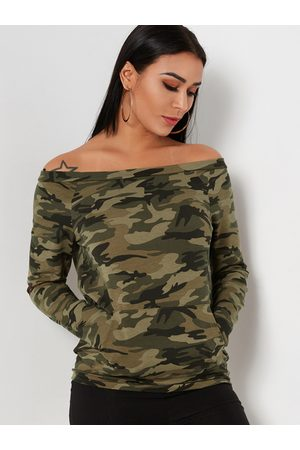 YOINS Camouflage Pocket Design Off The Shoulder Long Sleeves T-shirts