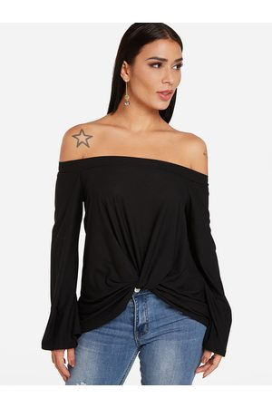 YOINS Knotted Front Design Plain Off The Shoulder Long Sleeves T-shirts