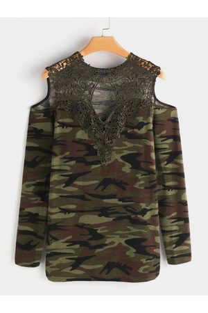 YOINS Lace Details Camouflage Cold Shoulder Long Sleeves T-shirts