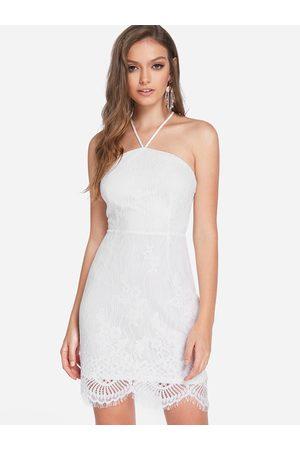 YOINS Backless Lace Design Halter Sleeveless Dress