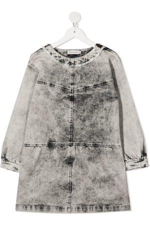 Le pandorine Stonewash-print denim dress