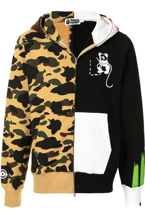 A BATHING APE® Panelled camouflage print zip-up hoodie