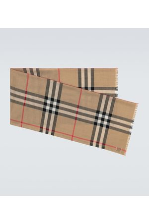 Burberry Checked wool and silk scarf