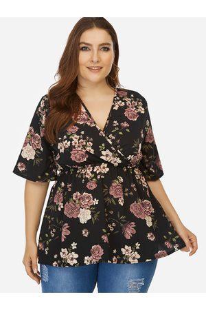 YOINS Plus Size Floral Print Wrap V-neck Blouse