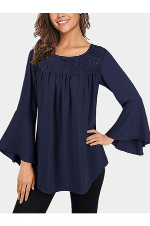 YOINS Lace Insert Round Neck Long Bell Sleeves T-shirt