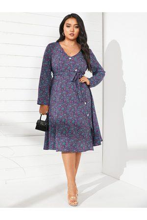 YOINS Plus Size V-neck Calico Wrap Design Long Sleeves Midi Dress
