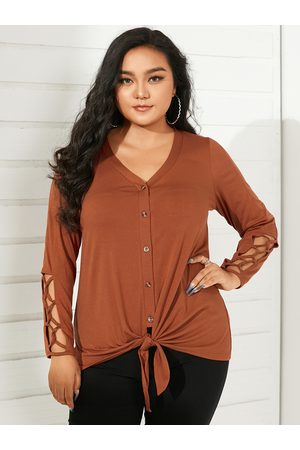 YOINS Women Long Sleeve - Plus Size V-neck Hollow Design Button Design Long Sleeves Tee