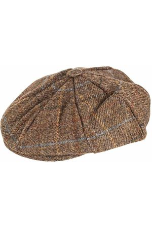 Dents Men Hats - Chestnut Check Abraham Moon 8 Piece Tweed Cap