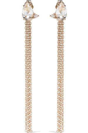 Mizuki 14kt yellow Sea of Beauty diamond and white topaz chain earrings