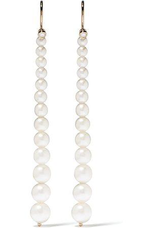 Mizuki 14kt yellow Sea of Beauty Akoya pearl and diamond small drop earrings