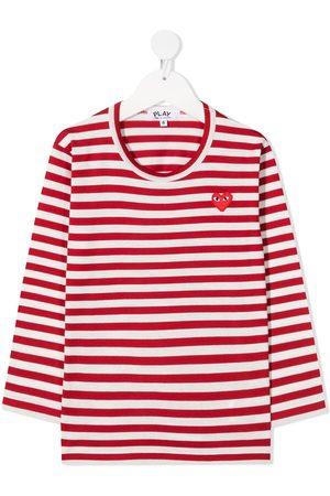 Comme des Garçons Heart-patch striped T-shirt