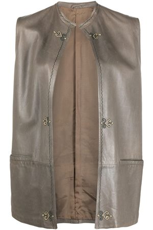 VERSACE Embroidered detailing sleeveless leather vest