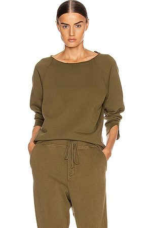 NILI LOTAN Luka Scoop Neck Sweatshirt in Army