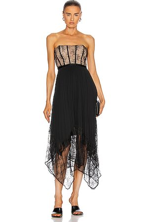 JONATHAN SIMKHAI Scarlett Strapless Pleated Midi Dress in