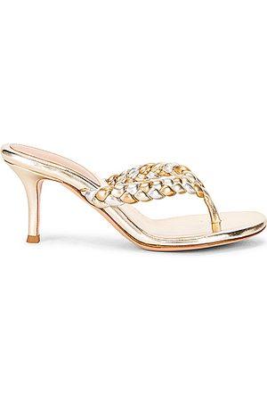 Gianvito Rossi Braid Thong Sandals in Metallic