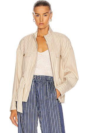 JONATHAN SIMKHAI Rae Cargo Jacket in Neutral,Stripes