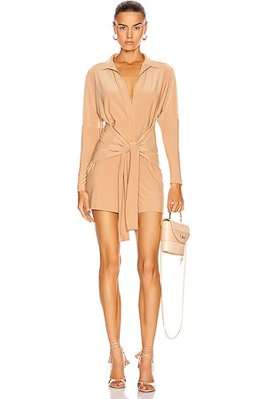 Norma Kamali Tie Front NK Shirt Jumpshort in Nude