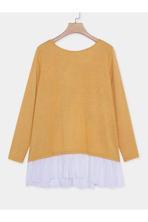 YOINS Stitching Design Round Neck Long Sleeves T-shirt