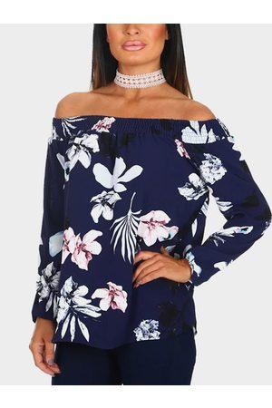 YOINS Random Floral Print Off Shoulder Long Sleeves Blouse