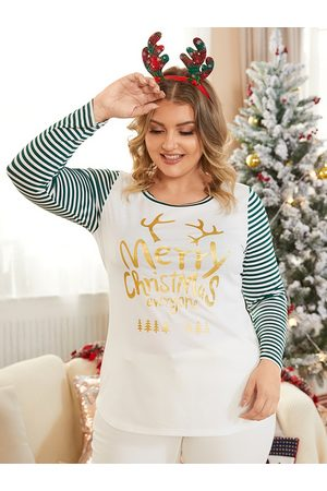 YOINS Plus Size Crew Neck Striped Patchwork Christmas Long Sleeves Tee