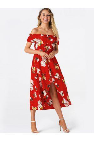 YOINS Red Random Floral Off The Shoulder High-low Hem Maxi Dress