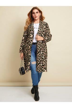YOINS Plus Size Notch Collar Leopard Side Pockets Long Sleeves Coat