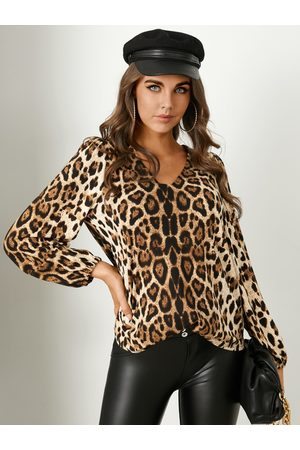 YOINS V-neck Leopard Long sleeves Blouse
