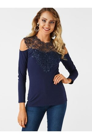 YOINS Women Long Sleeve - Lace Insert Cold Shoulder Long Sleeves Causal T-shirt