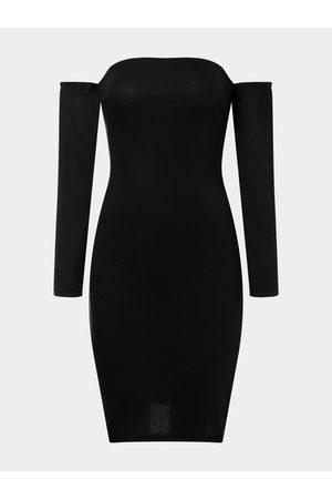 YOINS Off Shoulder Lace Up Backless Bodycon Midi Dress