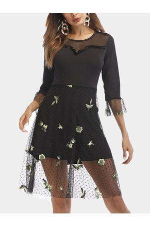 YOINS Mesh Design See Through Embroidered Round Neck Half Sleeves Midi Dress