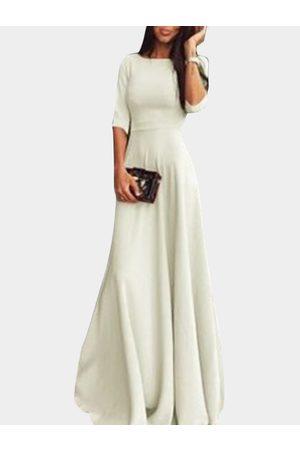 YOINS Round Neck 3/4 Length Sleeves Maxi Dress