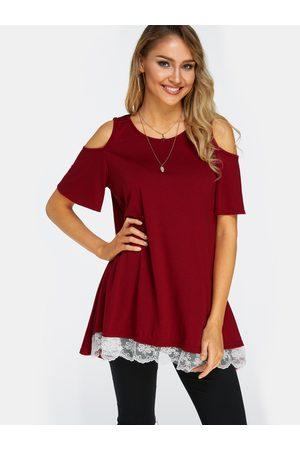 YOINS Lace Details Round Neck Short Sleeves T-shirt Dresses