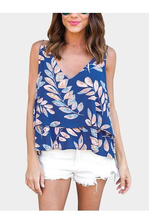 YOINS Random Floral Print V-neck Camis