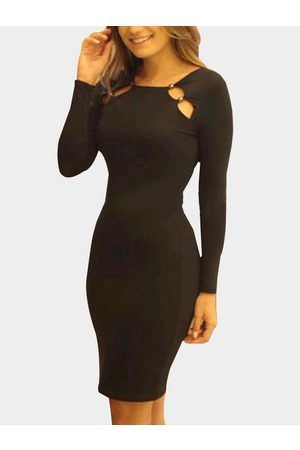 YOINS Cut Out Round Neck Long Sleeves Bodycon Dress