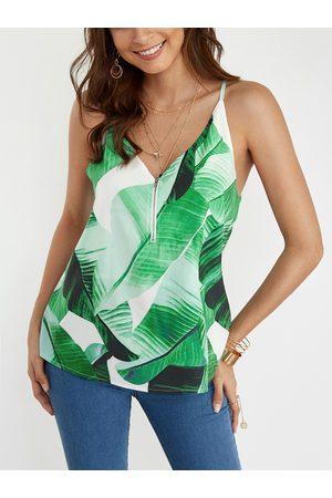 YOINS Zipper Front Random Floral Print Cami Top