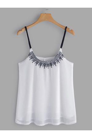 YOINS Embroidered Pattern Deep V-Neck Camis