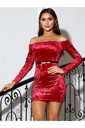 YOINS Off the shoulder Velvet Mini Dress