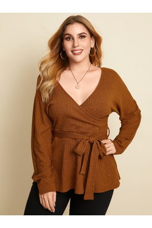 YOINS Plus Size V-neck Belt Design Wrap Design Long Sleeves Knitwear
